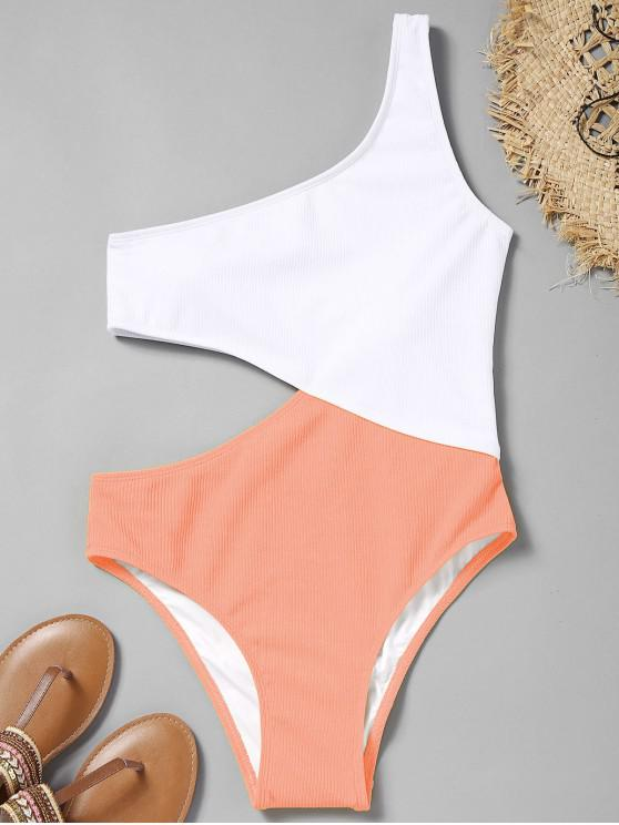 trendy Cutout Ribbed One Shoulder Swimsuit - ORANGEPINK S