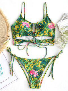 Lace Up Leaf Print String Bikini Set - Floral S