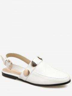 Round Toe Metal Slingback Flats - White 39