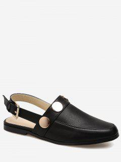 Round Toe Metal Slingback Flats - Black 38