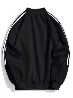 Fleece Striped Mock Neck Sweatshirt - Black M