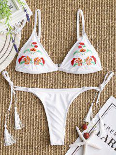 Sujetador De Bikini Bordado Con Tanga De Cordones - Blanco L