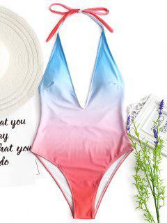 High Cut Low Back Ombre Swimwear - Pink S