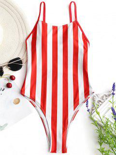 High Cut One Piece Striped Swimwear - Red With White L