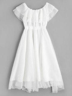 Off Shoulder Tiered Flounce Dress - White M