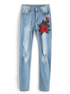 Floral Patched Ripped Jeans - Light Blue L