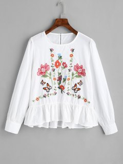 Rüschen Bestickte Bluse - Weiß L