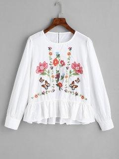 Blusa Bordada Con Volantes - Blanco S