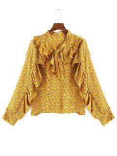 Blusa Floral Con Volantes Y Lazo - Amarillo