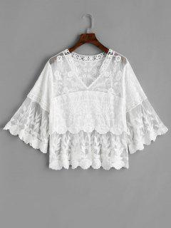 Mesh Panel Floral Lacework Blouse - White