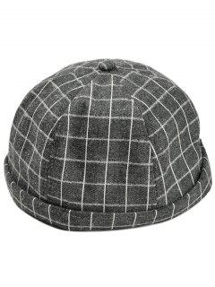 Vintage Checked Pattern Embellished Beret - Black