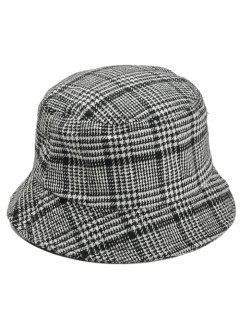Houndstooth Pattern Decorated Bucket Hat - Black