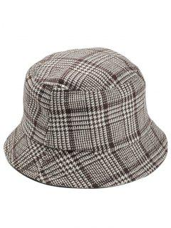Houndstooth Pattern Decorated Bucket Hat - Khaki