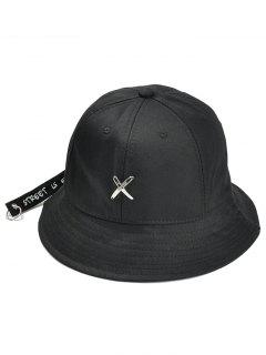 Metal X Pattern Adjustable Bucket Hat - Black