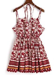 Printed Mini Slip Dress - Wine Red M