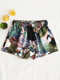 Drawstring Floral Shorts - Green S