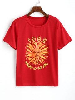 Cotton Logo Printed Top - Red Xl