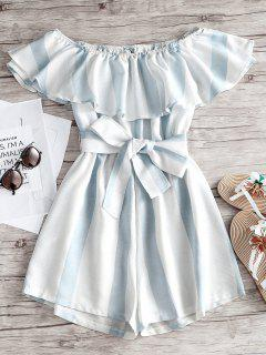 Off Shoulder Flounce Striped Belted Romper - Light Blue S