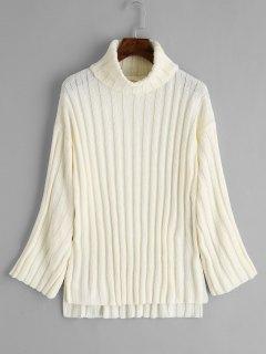 Suéter De Cuello Alto Con Abertura Lateral - Blancuzco