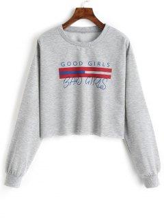 Girls Graphic Cropped Sweatshirt - Gray S