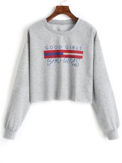 Girls Graphic Cropped Sweatshirt - Gray Xl