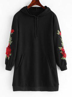 Drawstring Longline Embroidered Patch Hoodie - Black L