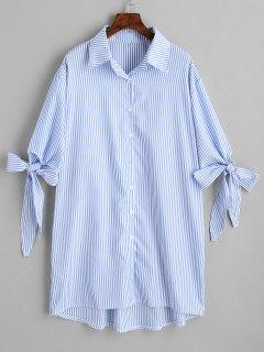 Longline High Low Stripes Shirt - Rayure L