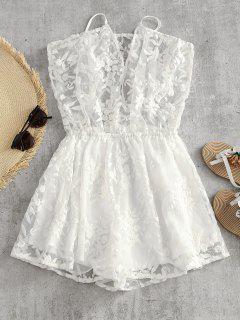 Floral Embroidered Mesh Cami Romper - White L