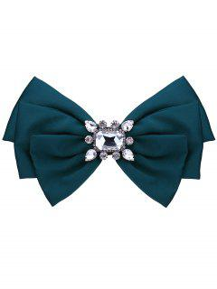 Faux Crystal Embellished Fabric Bowknot Brooch - Dark Green