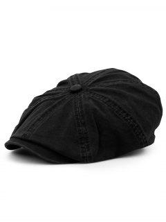 Washed Pattern Embellished Octagonal Cap - Black