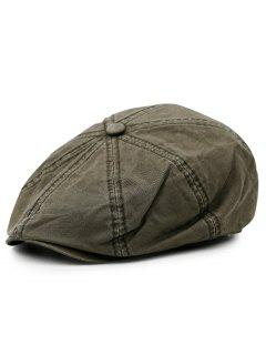 Washed Pattern Embellished Octagonal Cap - Army Green