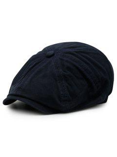 Washed Pattern Embellished Octagonal Cap - Cadetblue