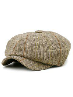 Checked Pattern Embellished Octagonal Beret Hat - Khaki
