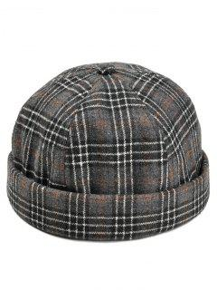 Retro Tartan Pattern Magic Sticker Beret - Black