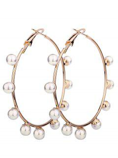 Faux Pearl Circle Unique Hoop Boucles D'oreilles - Or