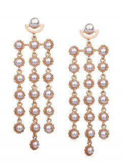 Faux Pearl Layered Statement Earrings - Golden