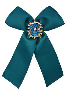 Diamante Bowknot Corsage Brooch - Green