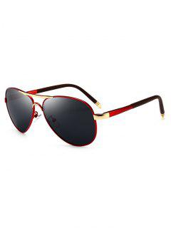 Metal Full Frame Crossbar Pilot Sunglasses - Red-gray
