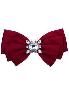 Faux Crystal Embellished Fabric Bowknot Brooch - Bright Red
