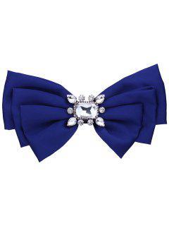 Broche De Bowknot De Tela De Adorno De Cristal Falso - Azul Zafiro