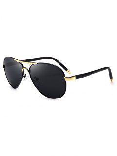 Gafas De Sol Piloto De Marco Cruzado De Metal Completo - Dorado + Gris