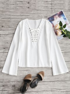 Flared Sleeve Lace Up Top - White M