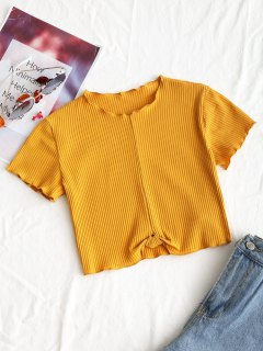Cropped Ribbed Draped Top - Mustard M
