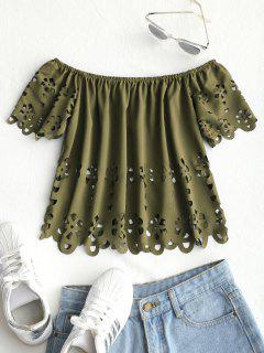 Eyelet Off Shoulder Top - Army Green S