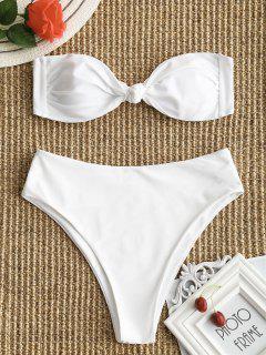 Bandeau Bowknot High Cut Bathing Suit - White S