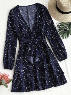 Robe Courte Volantée à Pois Avec Ceinture - Bleu Violet Xl