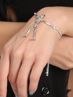 Rhinestone Skeleton Chain Bolo Bracelet - Silver