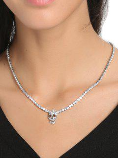 Rhinestone Charm Skull Chain Necklace - Silver