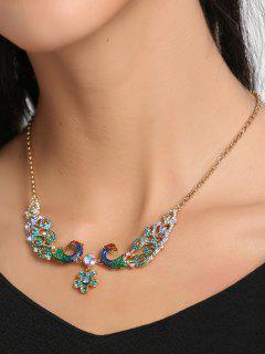 Rhinestone Valentine's Day Peacock Flower Necklace - Green