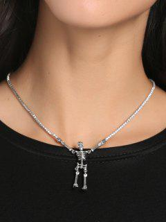 Rhinestone Collarbone Skeleton Necklace - Silver